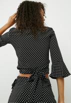 dailyfriday - Wrap spot blouse with ruffle