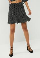 dailyfriday - Ruffle spot wrap mini skirt