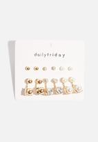 dailyfriday - 6pk crystal and pearl front and back earrings