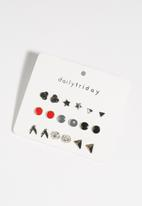 dailyfriday - 9pk red, grey black asst studs