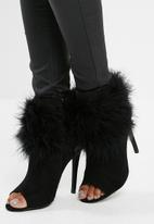 Missguided - Feather trim peeptoe shoe boot