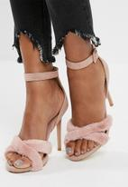 Missguided - Faux fur cross upper sandal