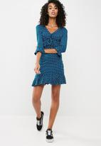 Missguided - Polka dot frill detail mini tea dress