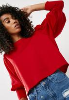 Missguided - Puffball sleeve round neck blouse