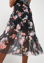 Missguided - Floral mesh frill hem midi skirt