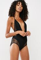 Missguided - Fishnet plunge swimsuit