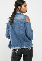Missguided - Cut out trucker denim jacket