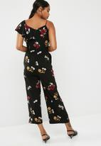 dailyfriday - Wide leg one shoulder ruffle jumpsuit