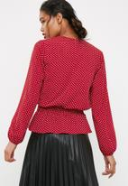 dailyfriday - Shirred waist wrap blouse