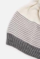 basicthread - Striped pom-pom beanie