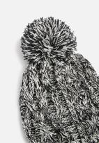 basicthread - Melange pom pom beanie - black & white