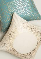 Sixth Floor - Dot frame cushion cover - cream & gold