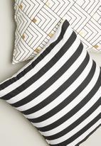 Sixth Floor - Classic stripe printed cushion cover - black & white