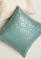 Sixth Floor - Textured printed cushion cover - turquoise