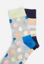 Happy Socks - Kids 2pk stripe socks
