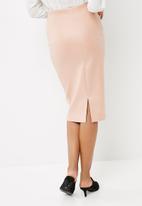 dailyfriday - PU coated scuba high waisted midi skirt