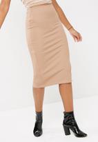 dailyfriday - Lux rib high waisted midi skirt