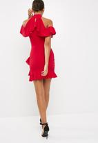 Missguided - High neck cold shoulder frill detail mini dress