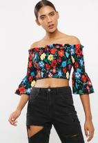 Missguided - Floral print shirred bardot top
