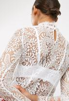 Missguided - High neck eyelash soft lace blouse