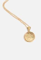 Matter of Fakt - Peso pendant small round necklace - brass
