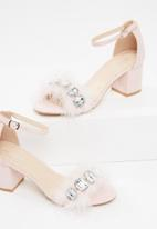 Public Desire - Subtle jewel feather detail heel