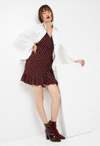 New Look - Polka dot ruffle sleeve wrap dress