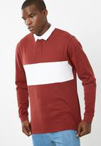 basicthread - Colour blocked rugby jersey - red