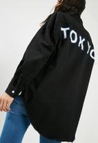 Missguided - Side stripe Tokyo over sized denim shirt