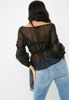 Missguided - Dobby mesh tie waist blouse