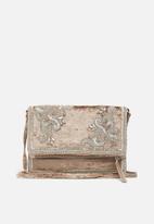 New Look - Velvet embellished foldover clutch