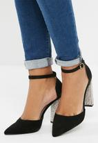 dailyfriday - Diamanté block heel - black