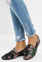 dailyfriday - Floral slip on loafer - black