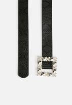 Missguided - Diamante square buckle belt