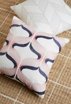 Sixth Floor - Pom embroidered cushion cover - red & navy
