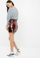 Missguided - Sequin mini skirt - burgundy