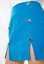 Missguided - Silver button down mini skirt - blue