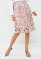 Missguided - Lace overlay full midi skirt - pink