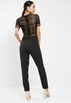 ab7fa5f5971d Lace top cigarette jumpsuit - black Missguided Jumpsuits   Playsuits ...