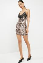 Missguided - Slinky leopard print lace trim cami mini dress - brown