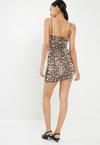 Missguided - Slinky leopard print lace trim cami mini dress - brown