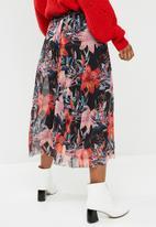 Pieces - Odina mesh floral midi skirt