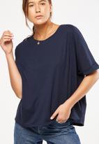 Cotton On - Shilah oversized roll sleeve tee - navy
