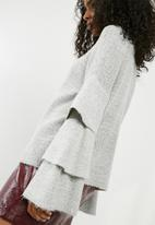 ONLY - Flower ruffle pullover knit - grey