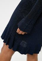 ONLY - Kamilla long sleeve knit dress - black & blue glitter