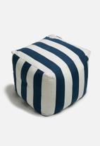 Sixth Floor - Stripe ottoman - navy & white