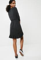 Vero Moda - Henna jersey short wrap dress - dark grey melange