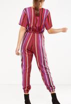 9cbfb8c5bd0 Woven Olivia v-neck cuffed jumpsuit - Eva stripe tibetan red Cotton ...