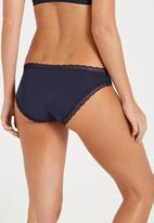 Cotton On - Smooth lace trim bikini - navy