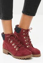 New Look - Quilted worker boot - maroon